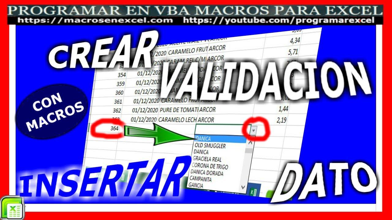 534 ❤️Como CREAR LISTA de 🔥 VALIDACION al INSERTAR DATO en Celda en Excel VBA