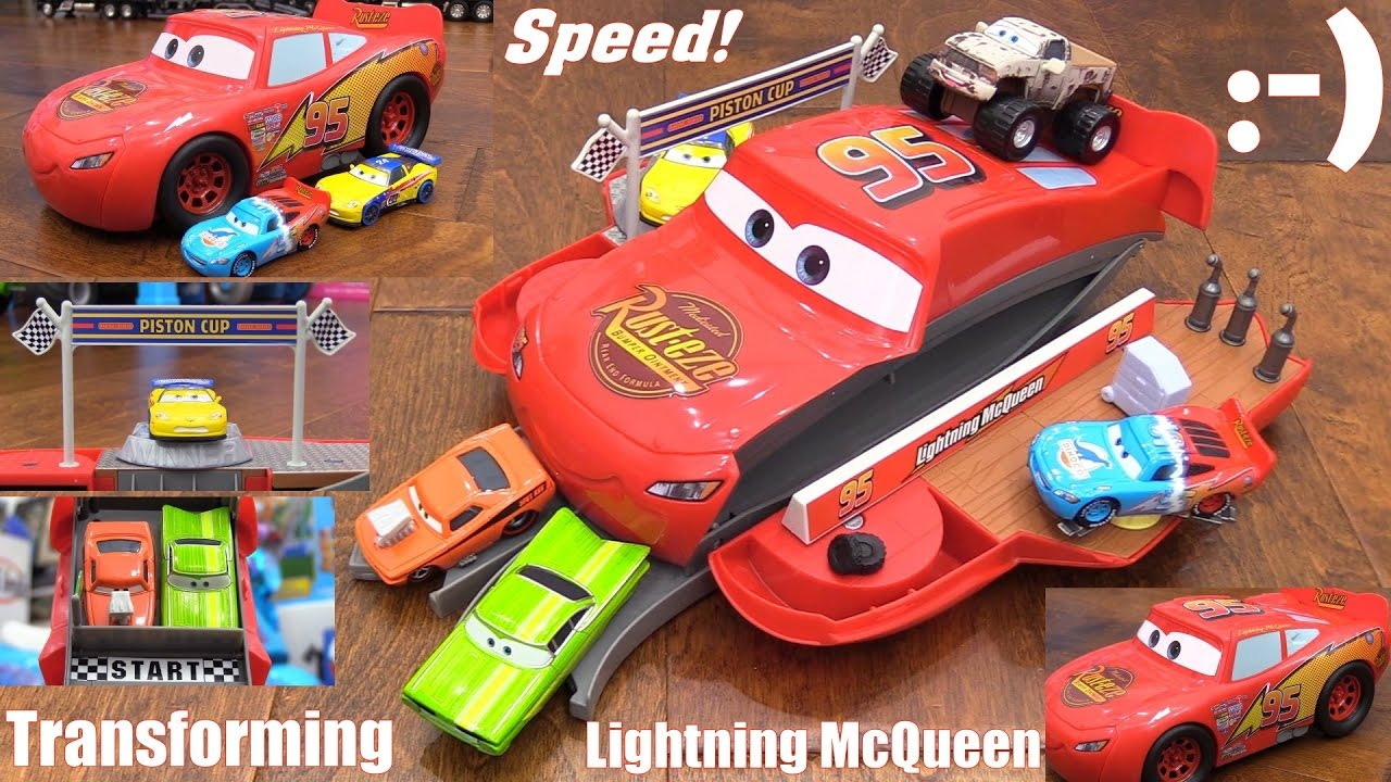 disney toy cars transforming lightning mcqueen play set and more disney cars characters youtube