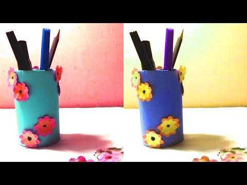How to Make Fancy Paper Pencil Holder || DIY Fancy Paper Pencil Holder Making || Crafts & Design