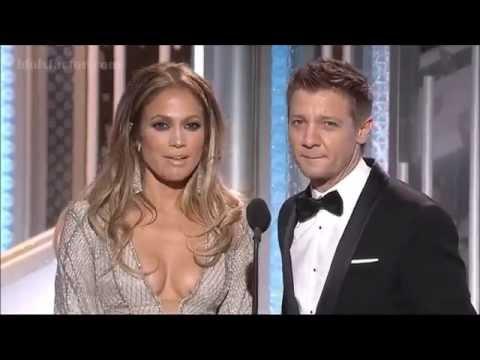 Jennifer Lopez and Jeremy Renner at Golden Globes 2015
