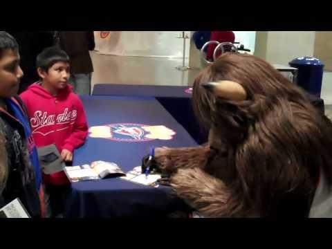 Rumble-OKC Thunder mascot signing autographs