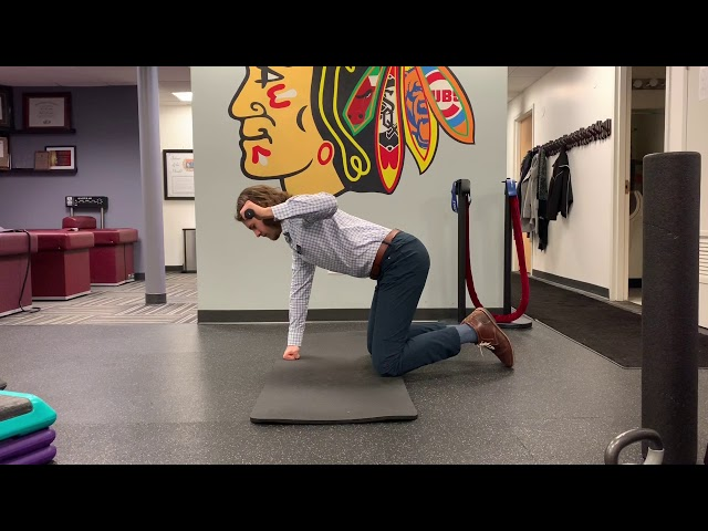 Table Top Unilateral High Elbow Row with External Rotation