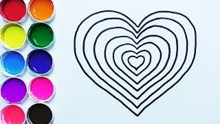 Dibuja y Colorea Corazón de Arco Iris - Dibujos Para Niños - Learn Colors With Hearts  / FunKeep