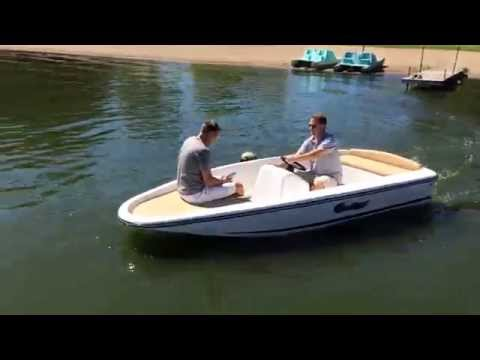 Electric boat at casual cruising speed