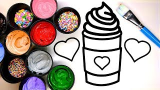 Coloring a Latte and Cupcake with Sprinkles and Painting it, Children learn to color with Paint