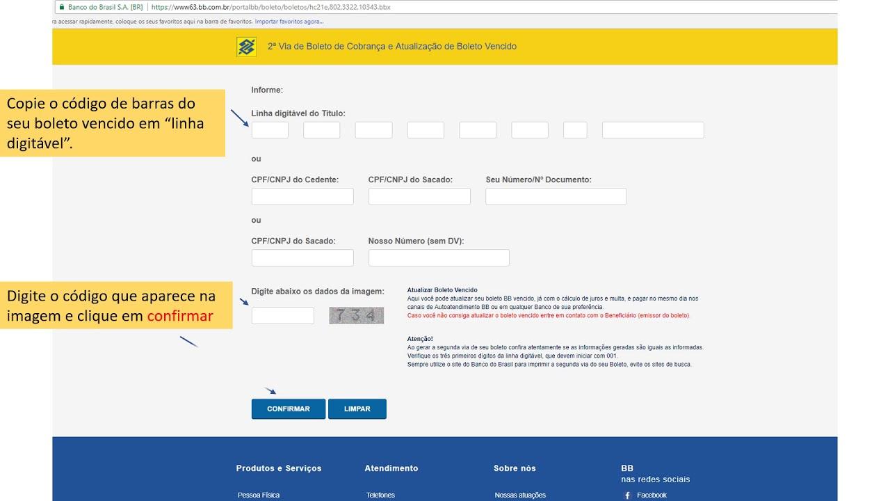Atualizar Boleto Bb Vencido Linha Digitavel Como Fazer Online