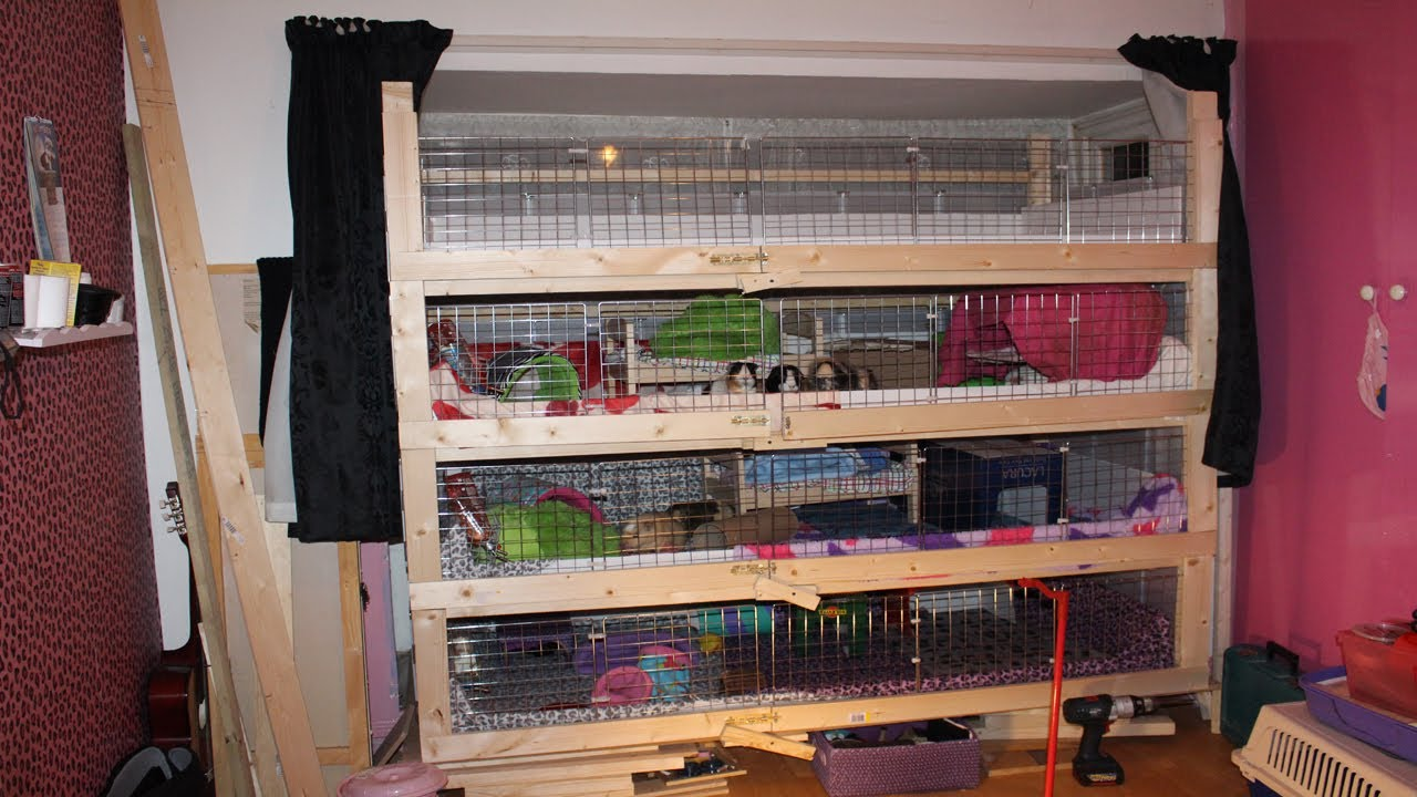 diy home made guinea pig cage 4 storey - youtube