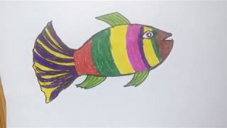 Cute fish with coloring and drawing for Kids | How to draw fish painting
