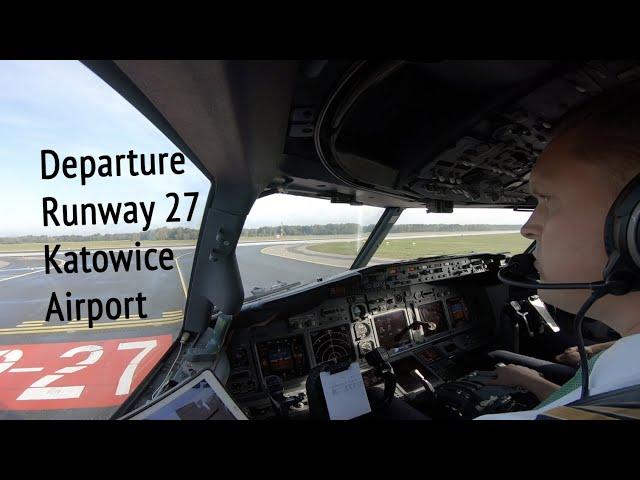 Departure runway 27 Katowice (Pyrzowice) Airport (KTW EPKT).