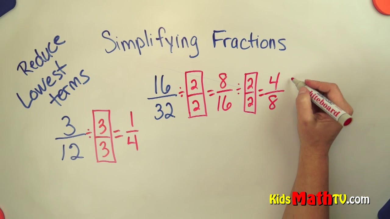 How to simplify fractions to the lowest terms math video - YouTube [ 720 x 1280 Pixel ]
