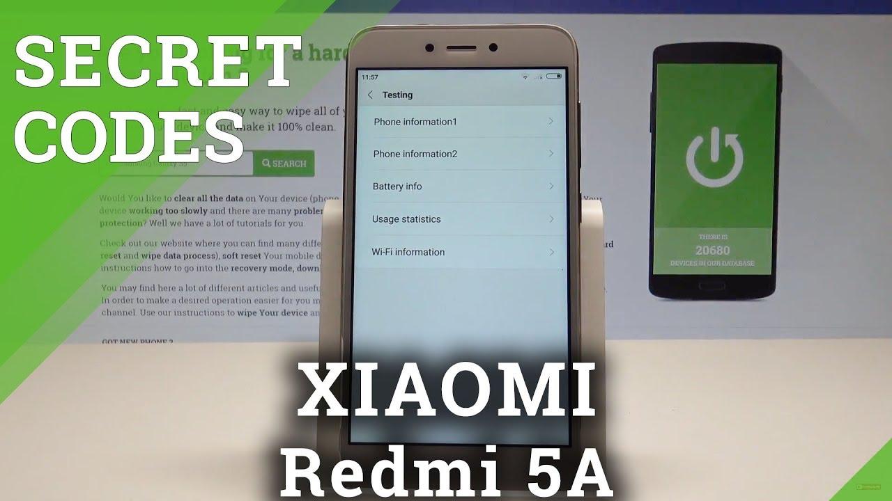 XIAOMI Redmi 5A CODES / Hidden Mode / Secret Menu / Advanced Options  |HardReset Info