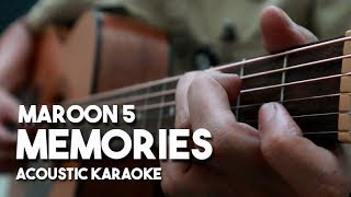 Memories - Maroon 5 (Acoustic Guitar Karaoke with Lyrics on Screen)
