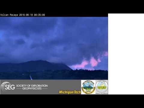 2016-08-18 night time-lapse video of Pacaya volcano, Guatemala