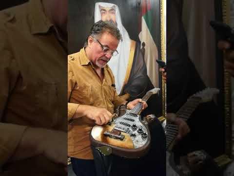 Hand made guitar seen by Etihad Modern art gallery Abu Dhabi