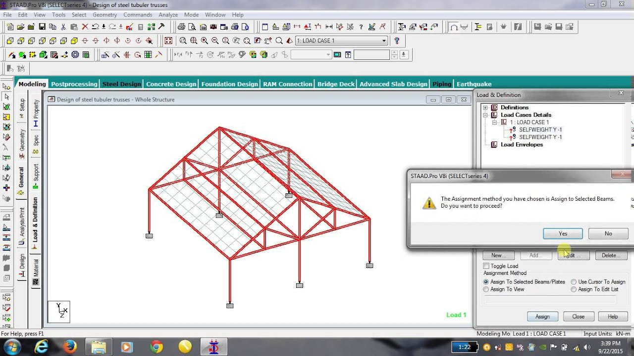 Design of steel tubuler truss analysis design youtube for Roof drawing software