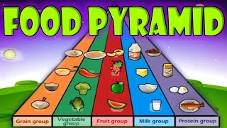 Learn about the foods you need to eat every day be healthy and strong. food pyramid: grain group, vegetable fruit milk protein group....