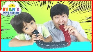 WORLD'S LARGEST GUMMY WORM CHALLENGE Ryan ToysReview thumbnail