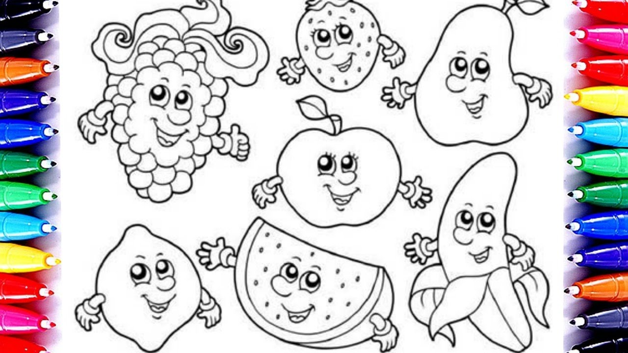 learning coloring for children fruits coloring book pages fun