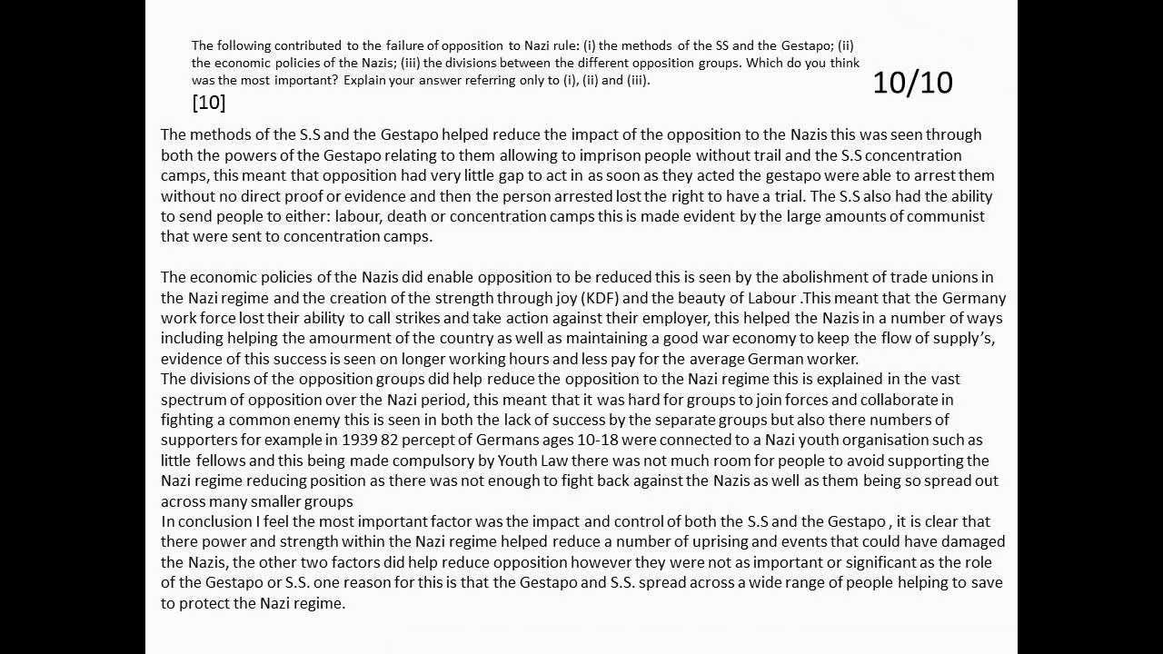 the key figures in the opposition of the nazi regime Start studying history - key question 3(a) - the nazi regime - how effectively did the nazis control germany- 1933-1945 learn vocabulary, terms, and more with flashcards, games, and other study tools.
