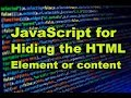JavaScript for Hiding HTML Element or content