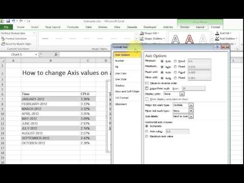 how to change the axis values in excel