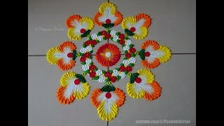 Beautiful and vibrant rangoli using bangles | Easy rangoli designs by Poonam Borkar