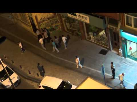 Istanbul, Turkey police and citizens violent fight