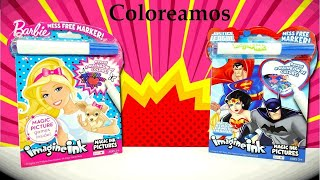 Libros Imagine Ink para Colorear de Barbie y La Liga de la Justicia