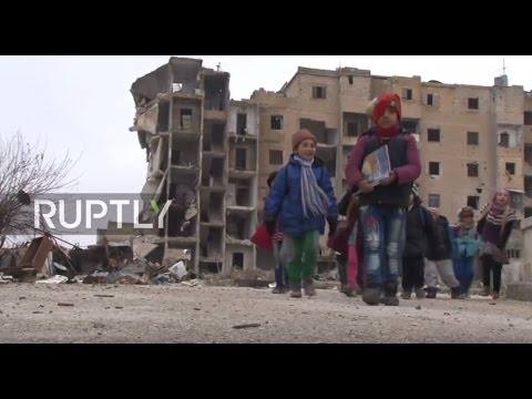 Syria: Children attend reopened schools in eastern Aleppo