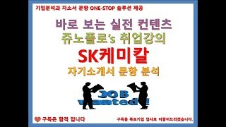 SK 케미칼 자기소개서 문항 분석 강의