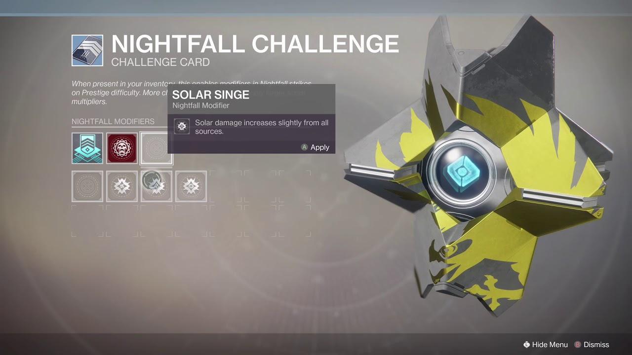 New Nightfall Challenge Card
