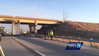 Raw Video: Dump truck hits bridge