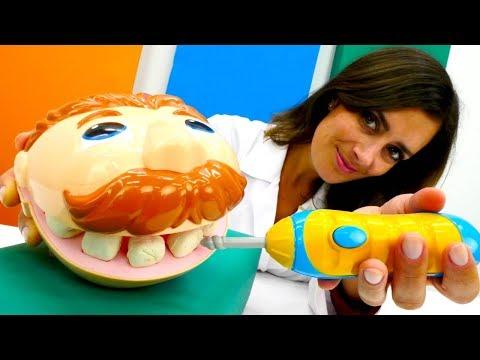 Lustige Schule. Doktor Wackelzahn bei der Zahnärztin.