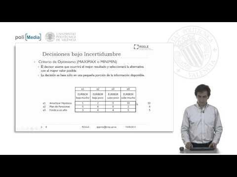 Tablas De Decisión  Bajo Condiciones De Incertidumbre      UPV