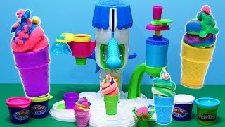 Play-Doh Perfect Twist Ice Cream Sweet Shoppe Ice Cream Swirl Cone Gummy Bear Playset Unboxing