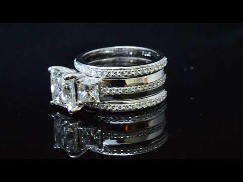 3 Stone Princess Cut Diamond Engagement Ring & Matching Bands
