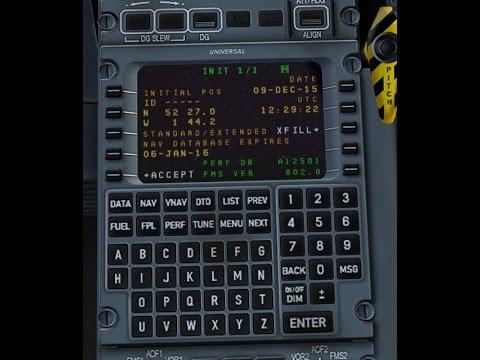 Q400 Flight BHX-JER Flight Management System Departure Setup