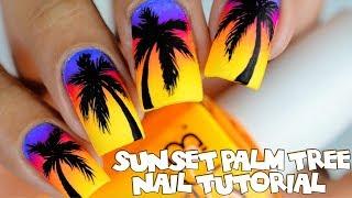 Sunset Palm Tree Nail Tutorial
