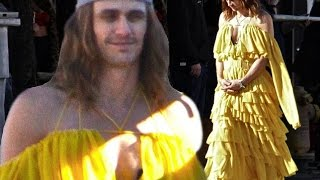 Not a pretty woman! James Franco doesn't bother to shave his face or brush his hair as he slips into