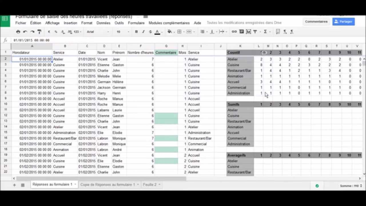 Google Sheets : Arrayformula, Countifs, Sumifs, Averageifs (version  sous-titrée)
