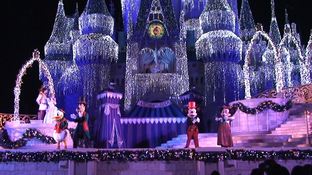 disney christmas castle ice lights cinderellas holiday wish show lighting magic kingdom 2012 youtube