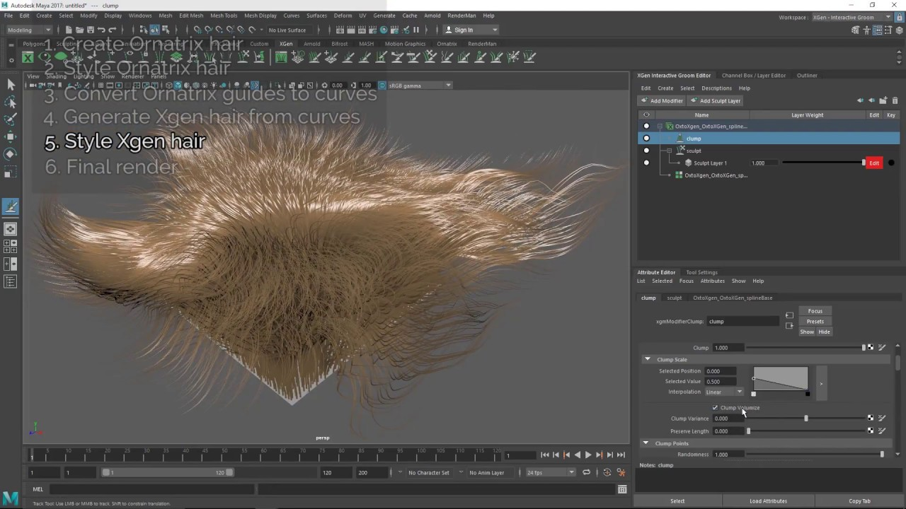 Using Xgen Alongside Ornatrix to Style and Simulate Hair   CGHOW