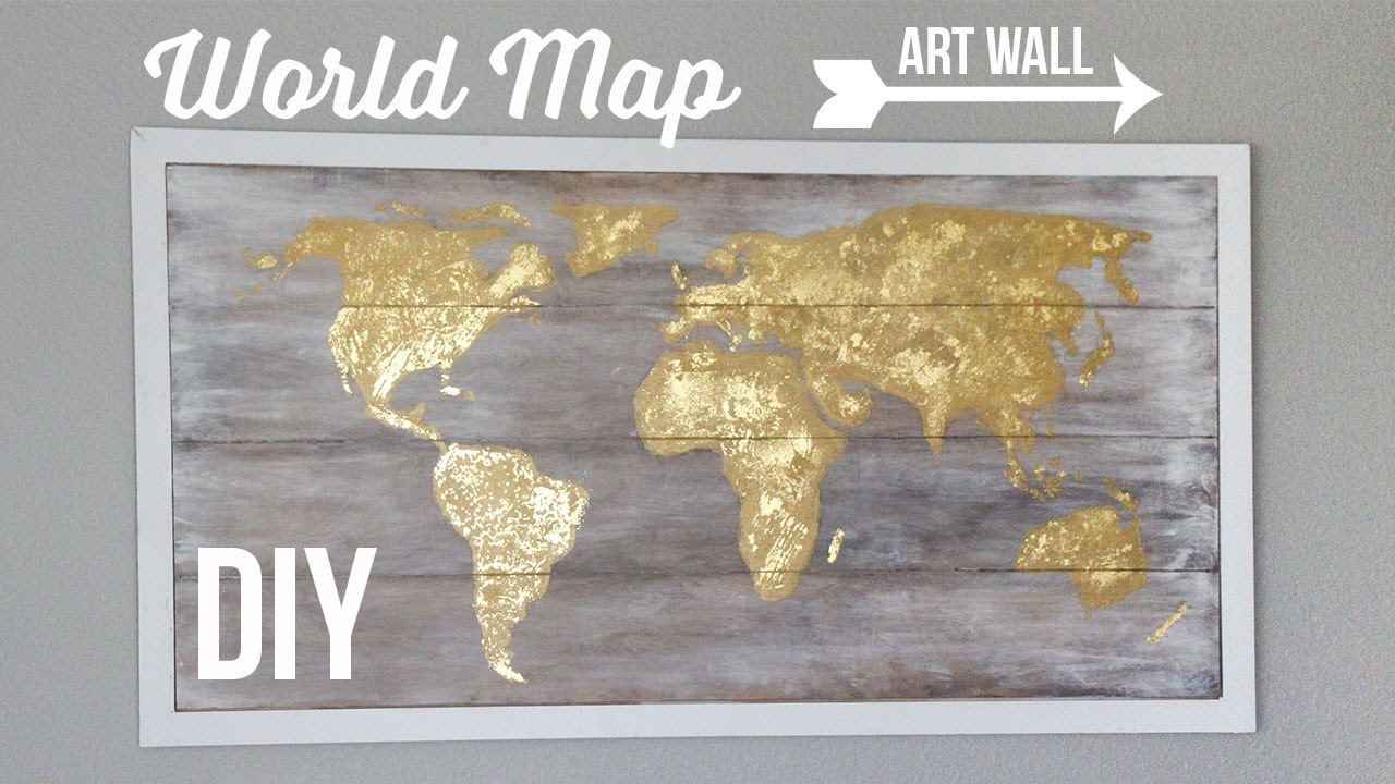 Diy world map art wall cuadro del mapamundi youtube diy world map art wall cuadro del mapamundi gumiabroncs Gallery