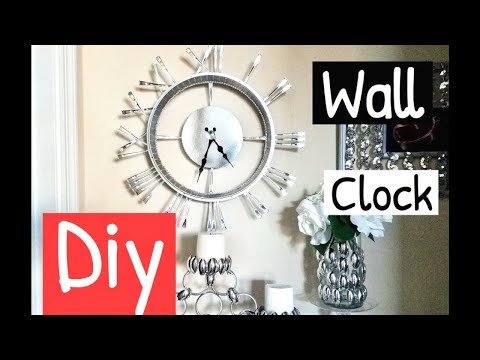 Diy Wall Mirror Clock Home/Room Decor Using Spoons from The Dollar Store.