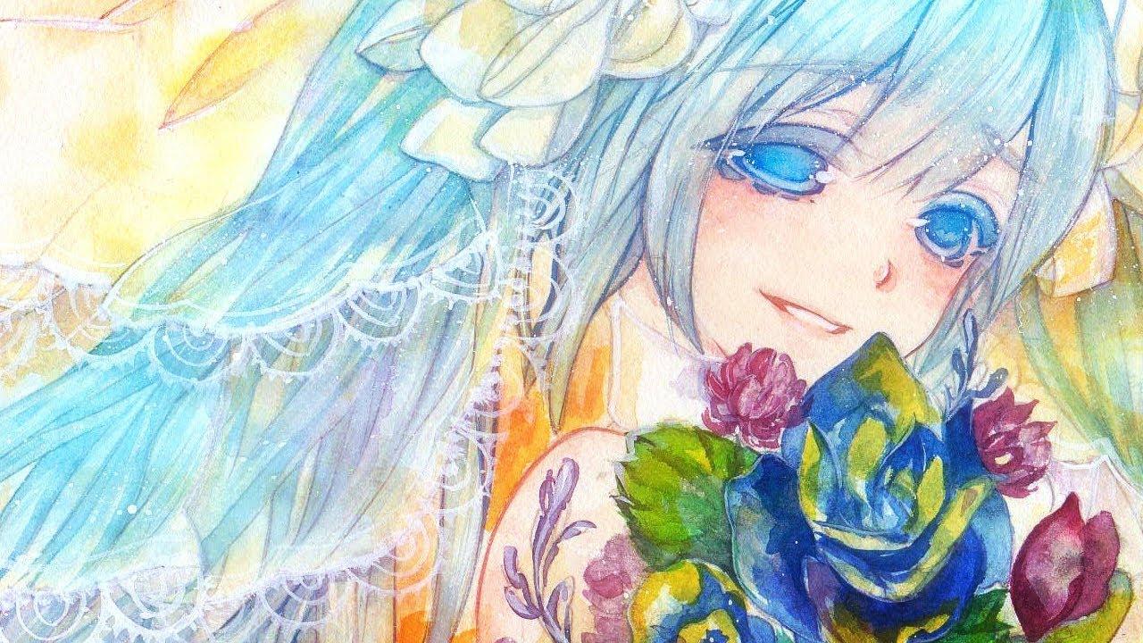 ミクさん描いてみた透明水彩watercolor Youtube