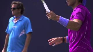 Удар слева на примере замедленном повторе  Обучение теннису
