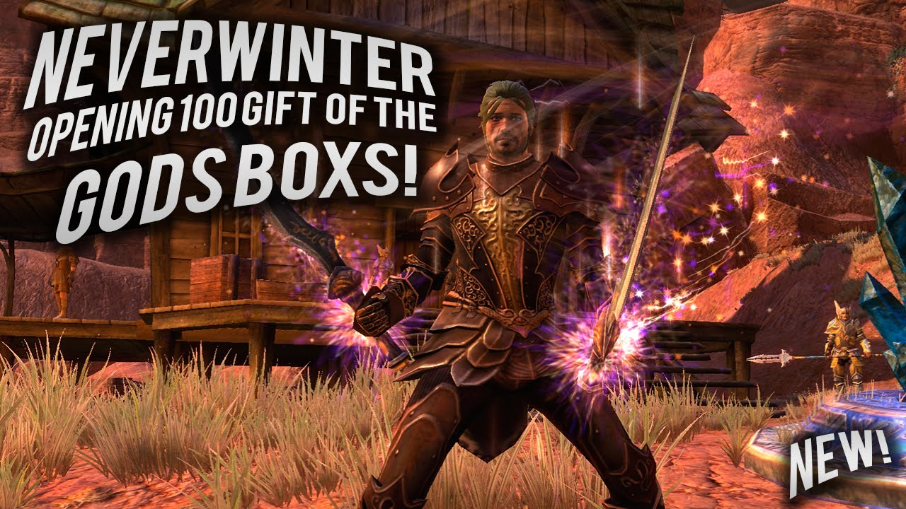 Neverwinter opening 100 Gift Of The Gods boxes - YouTube