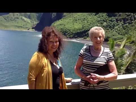 Maria Devera and Joan Lewis on Kalaupapa at kalawao lookout