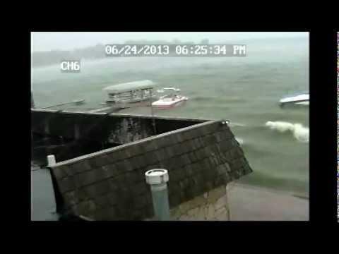 06-24-13 Cedar Lake Indiana Storm Neighbor Boat Breaks Loose