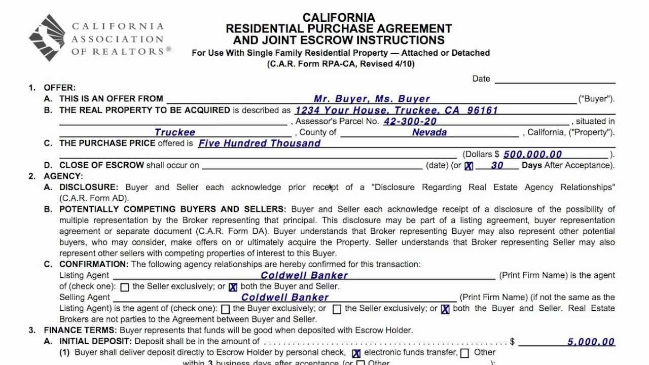 Real Estate Purchase Ageement For Truckee And Lake Tahoe Homes Youtube